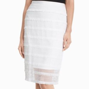 WHBM White Lace Pencil Skirt